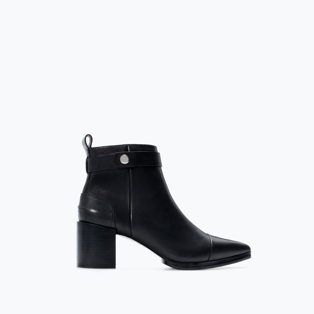 High Heeled Pointed Leather Bootie - predominant colour: black; occasions: casual, work, creative work; material: leather; heel height: mid; heel: block; toe: pointed toe; boot length: ankle boot; style: standard; finish: plain; pattern: plain; season: a/w 2014