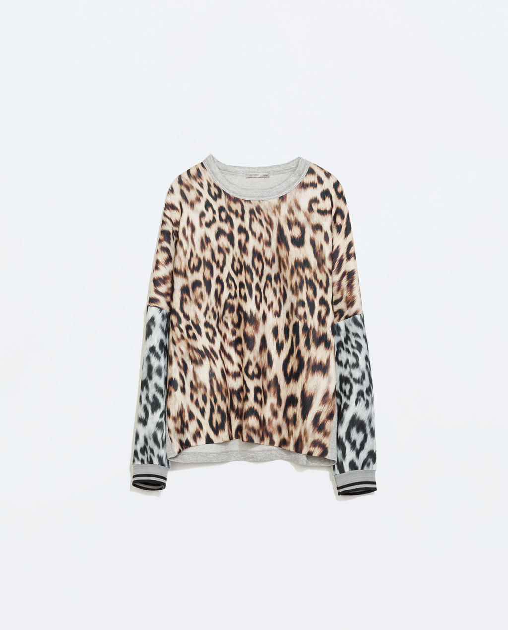 Animal T Shirt - neckline: round neck; sleeve style: dolman/batwing; style: sweat top; secondary colour: chocolate brown; predominant colour: light grey; occasions: casual, creative work; length: standard; fibres: polyester/polyamide - 100%; fit: loose; sleeve length: long sleeve; pattern type: fabric; pattern: animal print; texture group: jersey - stretchy/drapey; trends: zesty shades; season: a/w 2014; pattern size: big & busy (top); embellishment: contrast fabric; embellishment location: back