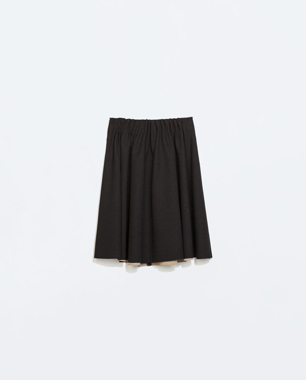 Skirt With Elastic Waist - pattern: plain; style: full/prom skirt; fit: loose/voluminous; waist detail: elasticated waist; waist: mid/regular rise; predominant colour: black; occasions: casual, evening, creative work; length: just above the knee; fibres: polyester/polyamide - 100%; hip detail: soft pleats at hip/draping at hip/flared at hip; pattern type: fabric; texture group: other - light to midweight; trends: sixties, minimal sleek; season: a/w 2014