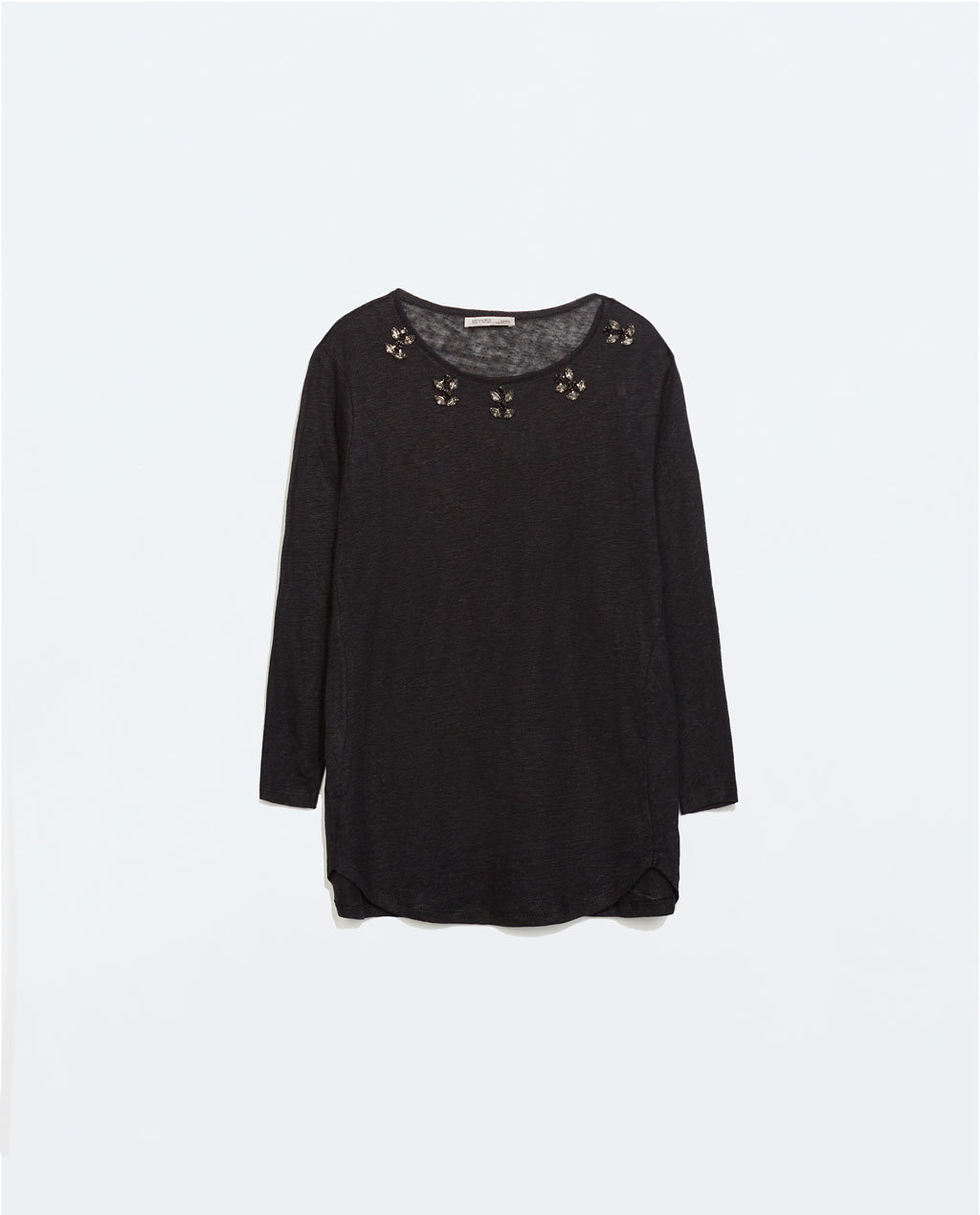 Linen T Shirt With Jewel Collar - neckline: round neck; pattern: plain; length: below the bottom; style: t-shirt; predominant colour: black; occasions: casual, creative work; fibres: linen - 100%; fit: loose; sleeve length: 3/4 length; sleeve style: standard; pattern type: fabric; texture group: jersey - stretchy/drapey; embellishment: jewels/stone; secondary colour: clear; season: a/w 2014; wardrobe: highlight; embellishment location: shoulder