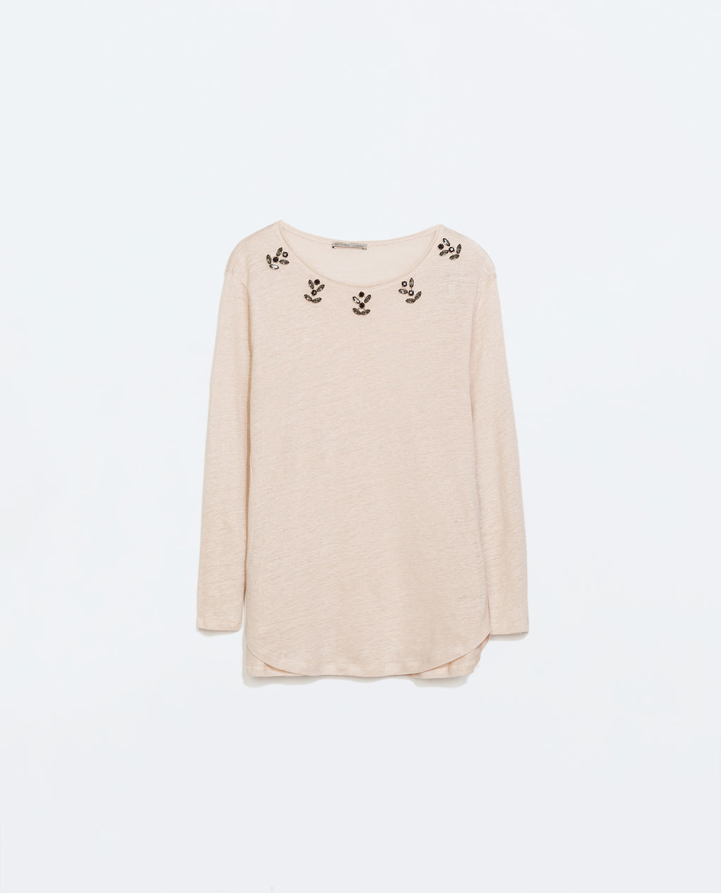 Linen T Shirt With Jewel Collar - neckline: round neck; pattern: plain; length: below the bottom; style: t-shirt; predominant colour: blush; occasions: casual, creative work; fibres: linen - 100%; fit: loose; sleeve length: 3/4 length; sleeve style: standard; pattern type: fabric; texture group: other - light to midweight; embellishment: jewels/stone; secondary colour: clear; season: a/w 2014; wardrobe: highlight; embellishment location: shoulder