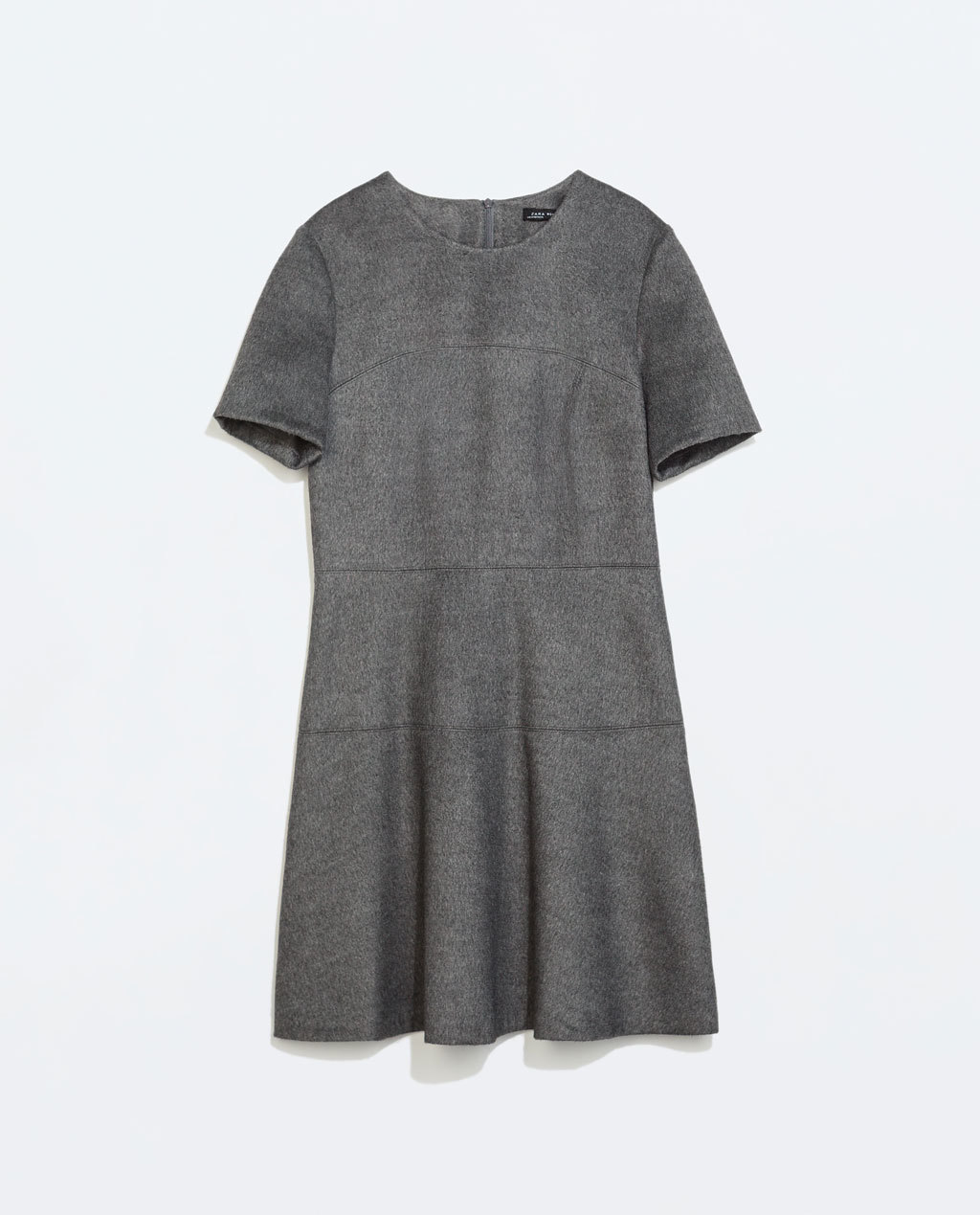 Seamed Dress With Overskirt - style: shift; neckline: round neck; pattern: plain; predominant colour: mid grey; occasions: casual, creative work; length: just above the knee; fit: soft a-line; fibres: polyester/polyamide - mix; sleeve length: short sleeve; sleeve style: standard; texture group: woven light midweight; season: a/w 2014