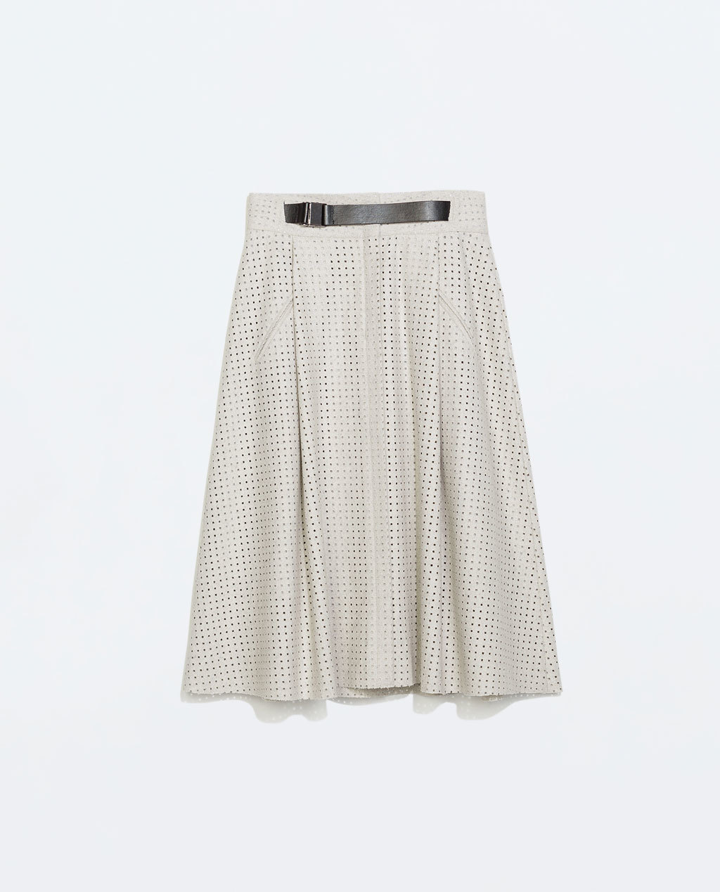 Perforated Skirt - length: below the knee; fit: loose/voluminous; waist detail: belted waist/tie at waist/drawstring; waist: mid/regular rise; predominant colour: stone; secondary colour: black; occasions: casual, creative work; style: a-line; fibres: polyester/polyamide - mix; hip detail: soft pleats at hip/draping at hip/flared at hip; pattern type: fabric; pattern: patterned/print; texture group: woven light midweight; trends: minimal sleek; season: a/w 2014; pattern size: light/subtle (bottom)
