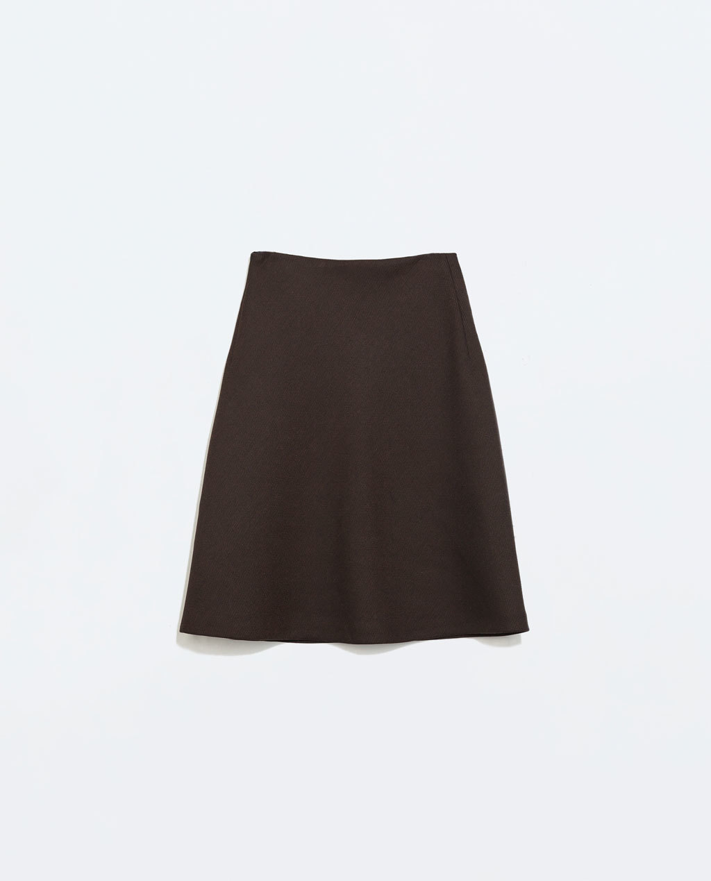 A Line Patterned Weave Skirt - pattern: plain; fit: loose/voluminous; waist: mid/regular rise; predominant colour: chocolate brown; occasions: casual, creative work; length: just above the knee; style: a-line; fibres: polyester/polyamide - mix; hip detail: subtle/flattering hip detail; pattern type: fabric; texture group: woven light midweight; trends: minimal sleek; season: a/w 2014
