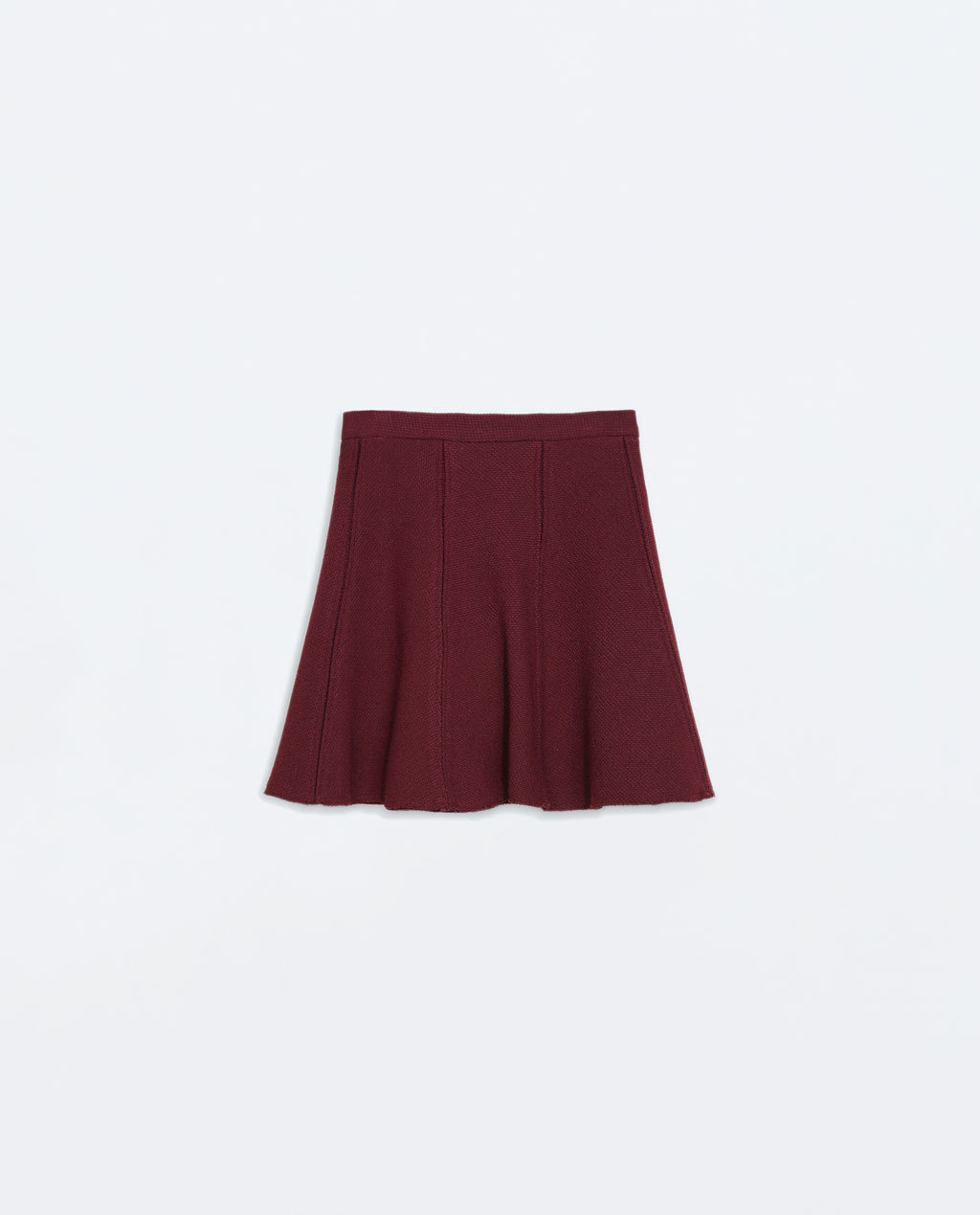 Pleated Mini Skirt - length: mini; pattern: plain; fit: loose/voluminous; style: pleated; waist: mid/regular rise; predominant colour: burgundy; occasions: casual, creative work; fibres: polyester/polyamide - stretch; pattern type: fabric; texture group: woven light midweight; trends: zesty shades, sixties; season: a/w 2014