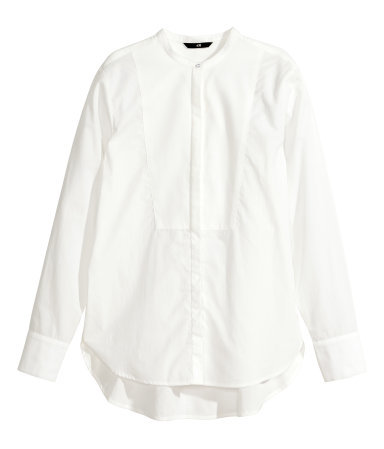 Bib Fronted Blouse - pattern: plain; style: blouse; predominant colour: white; secondary colour: white; occasions: casual, work, creative work; length: standard; neckline: collarstand; fibres: cotton - 100%; fit: straight cut; back detail: longer hem at back than at front; sleeve length: long sleeve; sleeve style: standard; texture group: cotton feel fabrics; pattern type: fabric; season: a/w 2014