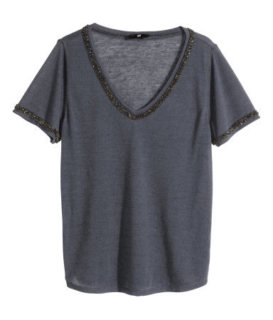 Beaded Jersey Top - neckline: low v-neck; pattern: plain; style: t-shirt; predominant colour: charcoal; secondary colour: black; occasions: casual, evening, creative work; length: standard; fibres: polyester/polyamide - mix; fit: loose; sleeve length: half sleeve; sleeve style: standard; pattern type: fabric; texture group: jersey - stretchy/drapey; embellishment: beading; season: a/w 2014