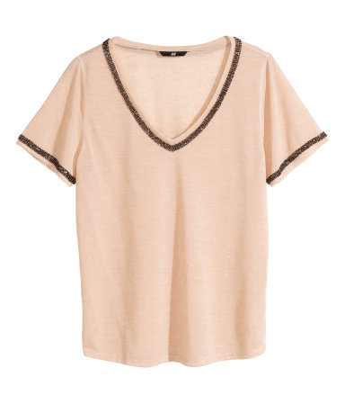 Beaded Jersey Top - neckline: v-neck; pattern: plain; style: t-shirt; predominant colour: nude; secondary colour: black; occasions: casual, evening, creative work; length: standard; fibres: polyester/polyamide - mix; fit: loose; sleeve length: half sleeve; sleeve style: standard; pattern type: fabric; texture group: jersey - stretchy/drapey; embellishment: beading; season: a/w 2014