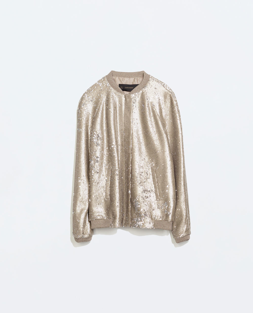 Mixed Knit Sequinned Bomber - pattern: plain; collar: round collar/collarless; style: bomber; predominant colour: gold; occasions: casual, evening; length: standard; fit: straight cut (boxy); fibres: polyester/polyamide - 100%; sleeve length: long sleeve; sleeve style: standard; collar break: high; pattern type: fabric; texture group: other - light to midweight; embellishment: sequins; trends: sixties, outerwear chic; season: a/w 2014