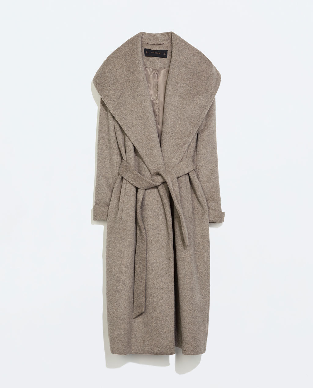 Wool Coat With Belt - pattern: plain; collar: wide lapels; fit: loose; style: double breasted; length: calf length; predominant colour: light grey; occasions: casual, evening, work, creative work; fibres: wool - mix; waist detail: belted waist/tie at waist/drawstring; sleeve length: long sleeve; sleeve style: standard; collar break: low/open; pattern type: fabric; texture group: woven bulky/heavy; season: a/w 2014