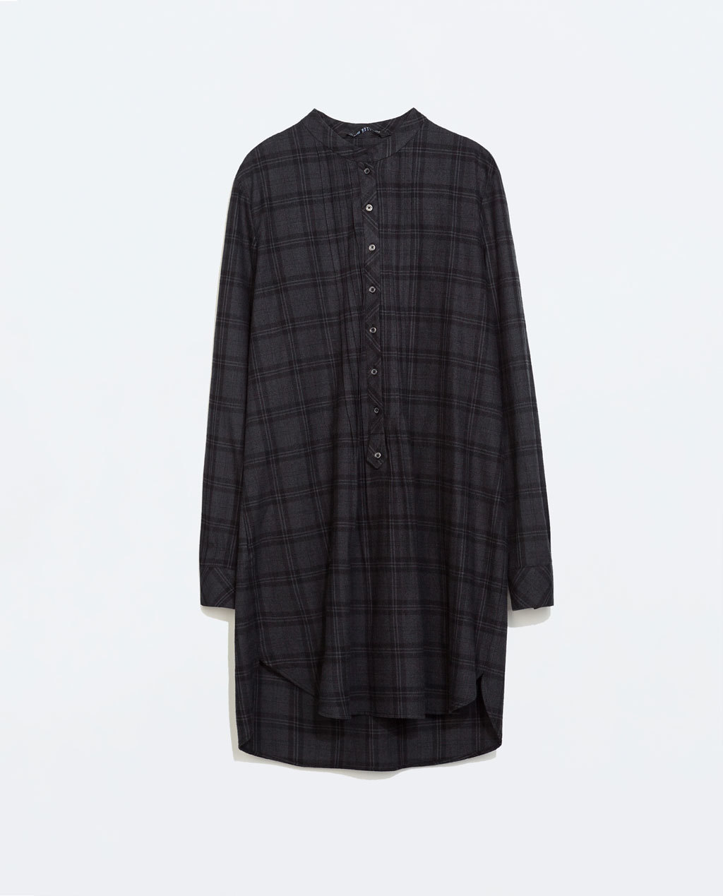 Long Sleeved Check Dress - style: shirt; length: mid thigh; fit: loose; pattern: checked/gingham; predominant colour: charcoal; occasions: casual, creative work; neckline: collarstand; fibres: cotton - 100%; sleeve length: long sleeve; sleeve style: standard; texture group: cotton feel fabrics; pattern type: fabric; pattern size: standard; trends: zesty shades; season: a/w 2014