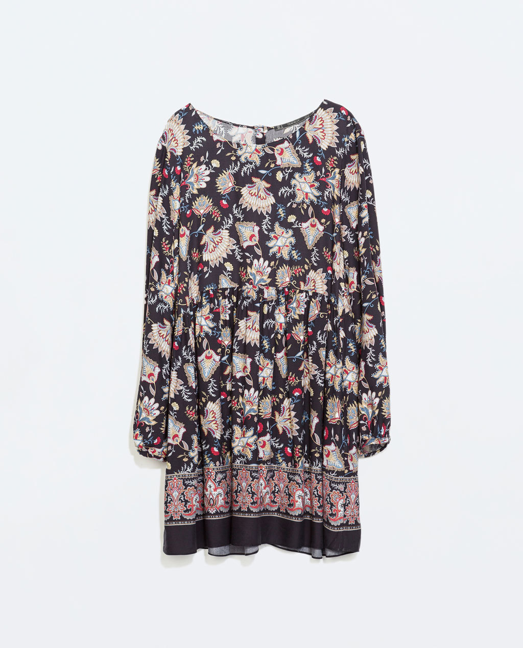 Printed Dress - style: tunic; neckline: round neck; fit: loose; occasions: casual, creative work; length: just above the knee; fibres: viscose/rayon - 100%; predominant colour: multicoloured; sleeve length: long sleeve; sleeve style: standard; texture group: cotton feel fabrics; pattern type: fabric; pattern size: big & busy; pattern: florals; season: a/w 2014; multicoloured: multicoloured