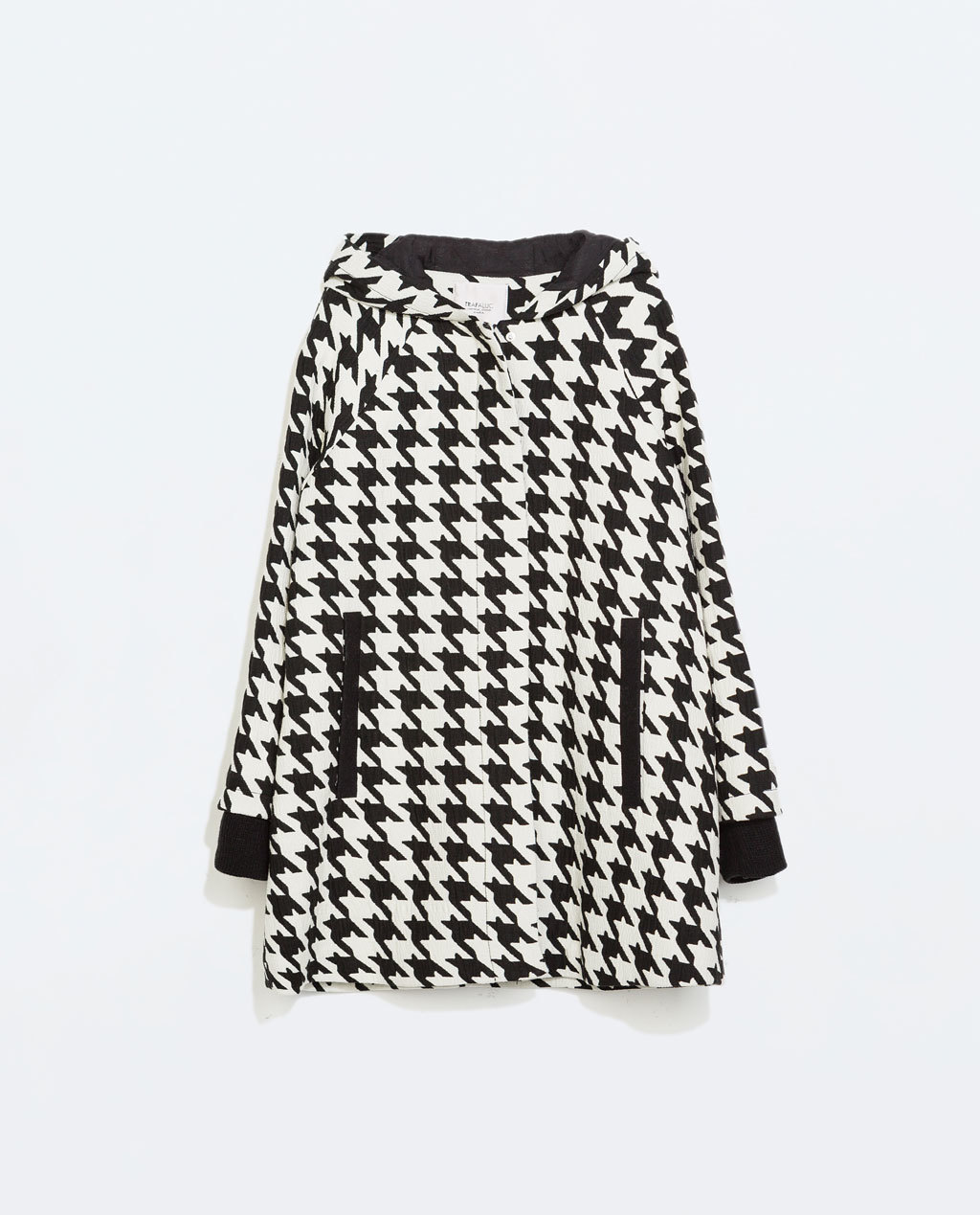 Houndstooth Cape - length: below the bottom; collar: round collar/collarless; fit: loose; style: cape; secondary colour: white; predominant colour: black; occasions: casual, creative work; fibres: acrylic - mix; pattern: dogtooth; sleeve length: long sleeve; sleeve style: standard; texture group: knits/crochet; collar break: high/illusion of break when open; pattern type: fabric; pattern size: standard; trends: outerwear chic; season: a/w 2014