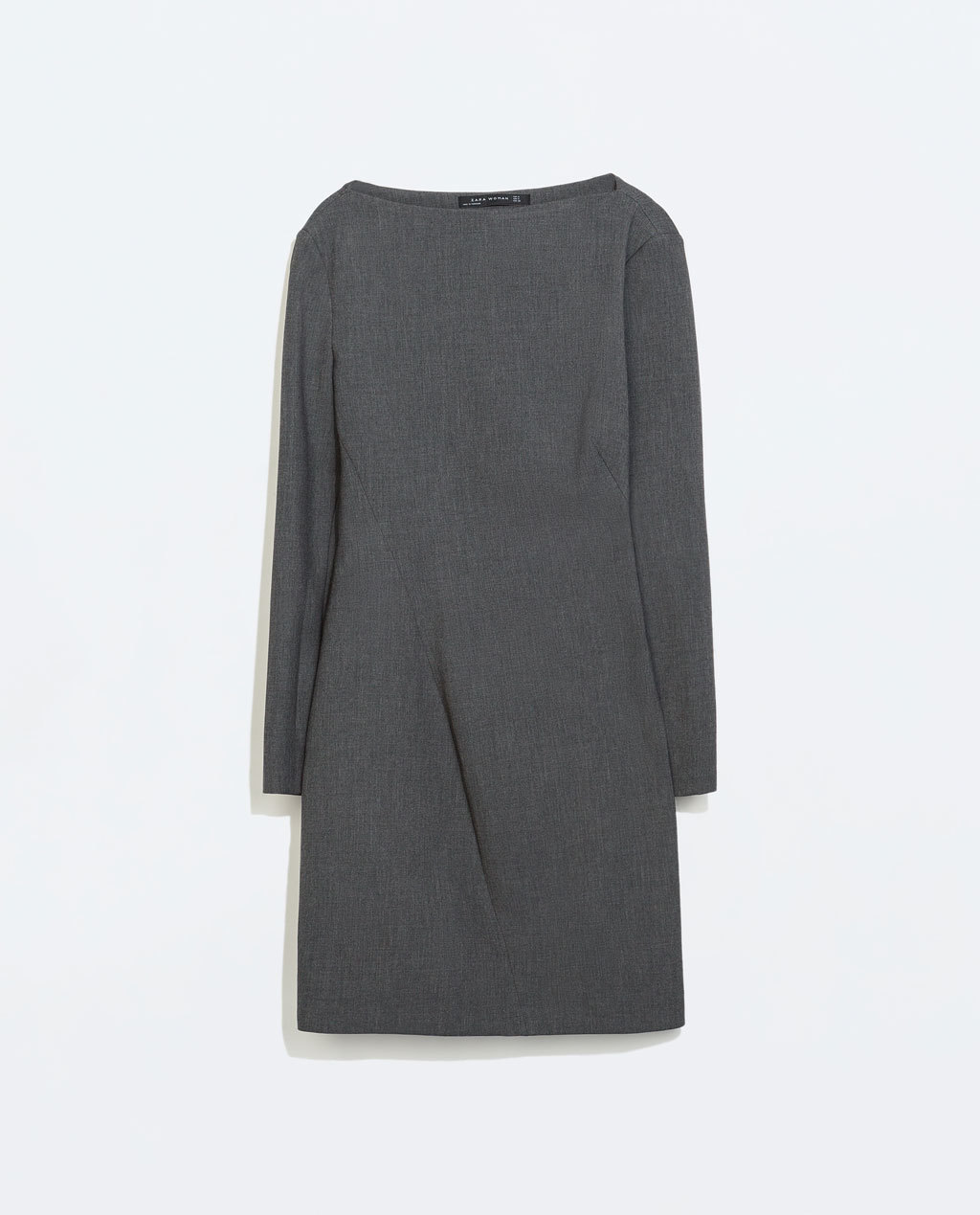 Seamed Boat Neck Dress - style: shift; length: mid thigh; neckline: slash/boat neckline; fit: tailored/fitted; pattern: plain; predominant colour: charcoal; occasions: casual, evening, work, creative work; fibres: polyester/polyamide - mix; sleeve length: long sleeve; sleeve style: standard; pattern type: fabric; texture group: jersey - stretchy/drapey; season: a/w 2014