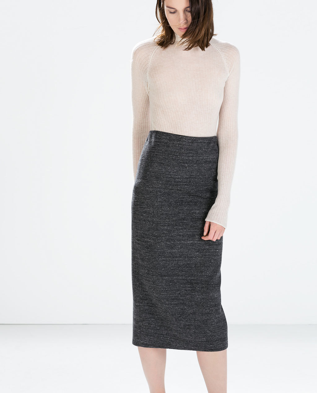 Knit Midi Pencil Skirt - length: below the knee; pattern: plain; style: pencil; fit: tailored/fitted; waist: high rise; predominant colour: charcoal; occasions: work, creative work; fibres: cotton - mix; pattern type: fabric; texture group: woven light midweight; season: a/w 2014