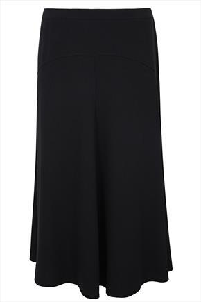 Black Crepe Flared Maxi Skirt With Panel Detail - length: below the knee; pattern: plain; style: full/prom skirt; fit: loose/voluminous; waist: mid/regular rise; predominant colour: black; occasions: casual, work, creative work; fibres: polyester/polyamide - stretch; texture group: crepes; season: a/w 2014