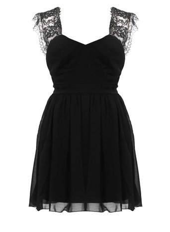 Womens **Elise Ryan Eyelash Lace Skater Dress Black - length: mid thigh; pattern: plain; sleeve style: sleeveless; neckline: sweetheart; predominant colour: black; occasions: evening, occasion; fit: fitted at waist & bust; style: fit & flare; fibres: polyester/polyamide - 100%; hip detail: subtle/flattering hip detail; sleeve length: sleeveless; texture group: sheer fabrics/chiffon/organza etc.; pattern type: fabric; trends: artesanal details; season: a/w 2014; embellishment: contrast fabric; embellishment location: shoulder