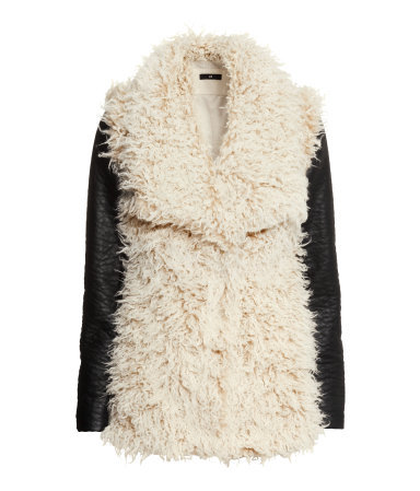 Fake Fur Jacket - pattern: plain; length: below the bottom; style: single breasted; predominant colour: ivory/cream; secondary colour: black; occasions: casual, creative work; fit: straight cut (boxy); sleeve length: long sleeve; sleeve style: standard; texture group: fur; collar: fur; collar break: medium; pattern type: fabric; trends: faux fur; season: a/w 2014