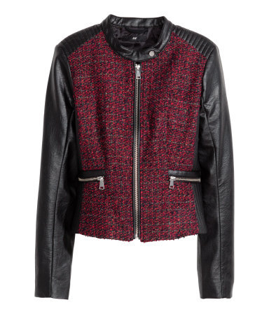 Jacquard Weave Biker Jacket - style: biker; collar: standard biker; pattern: herringbone/tweed; predominant colour: burgundy; secondary colour: black; occasions: evening; length: standard; fit: straight cut (boxy); sleeve length: long sleeve; sleeve style: standard; collar break: high; pattern type: fabric; texture group: tweed - bulky/heavy; fibres: pvc/polyurethene - mix; season: a/w 2014