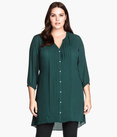 + Tunic - neckline: v-neck; pattern: plain; style: tunic; bust detail: subtle bust detail; predominant colour: dark green; occasions: casual, creative work; fibres: polyester/polyamide - 100%; fit: body skimming; length: mid thigh; sleeve length: 3/4 length; sleeve style: standard; texture group: sheer fabrics/chiffon/organza etc.; pattern type: fabric; season: a/w 2014; wardrobe: highlight