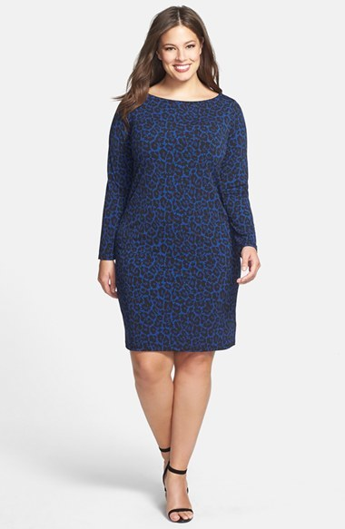'alderton' Boatneck Print Dress (Plus Size) - style: shift; neckline: slash/boat neckline; predominant colour: royal blue; occasions: evening, creative work; length: just above the knee; fit: body skimming; fibres: polyester/polyamide - stretch; sleeve length: long sleeve; sleeve style: standard; texture group: jersey - clingy; pattern type: fabric; pattern size: standard; pattern: animal print; season: a/w 2014
