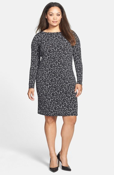 'alderton' Boatneck Print Dress (Plus Size) - neckline: slash/boat neckline; predominant colour: charcoal; occasions: evening, creative work; length: just above the knee; fit: body skimming; sleeve length: long sleeve; sleeve style: standard; pattern: animal print; texture group: woven light midweight; season: a/w 2014