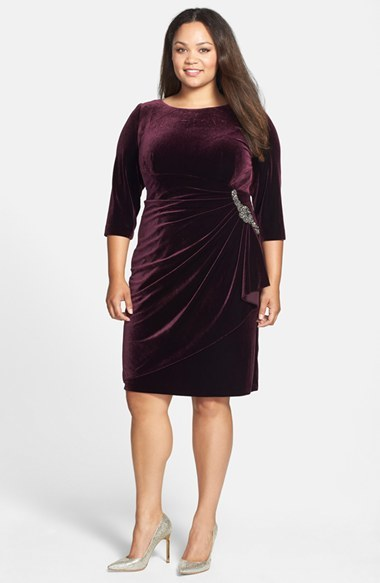 Embellished Draped Velvet Dress (Plus Size) - style: shift; neckline: round neck; pattern: plain; waist detail: twist front waist detail/nipped in at waist on one side/soft pleats/draping/ruching/gathering waist detail; predominant colour: aubergine; occasions: evening, occasion; length: on the knee; fit: body skimming; fibres: polyester/polyamide - stretch; sleeve length: 3/4 length; sleeve style: standard; texture group: velvet/fabrics with pile; embellishment: crystals/glass; season: a/w 2014
