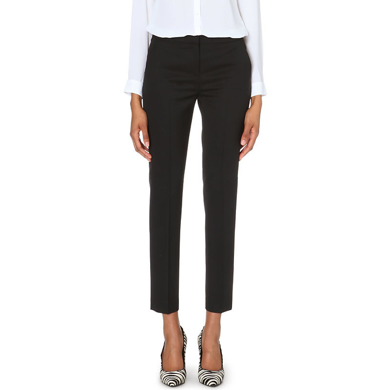Timeless Stretch Wool Trousers, Women's, Black - pattern: plain; waist: mid/regular rise; predominant colour: black; occasions: evening, work, creative work; length: ankle length; fibres: wool - stretch; fit: slim leg; pattern type: fabric; texture group: woven light midweight; style: standard; season: a/w 2014
