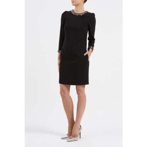 Wendy Dress - style: tunic; pattern: plain; predominant colour: black; occasions: evening; length: just above the knee; fit: body skimming; fibres: wool - mix; neckline: crew; sleeve length: long sleeve; sleeve style: standard; pattern type: fabric; texture group: other - light to midweight; embellishment: beading; season: a/w 2014; wardrobe: event; embellishment location: neck