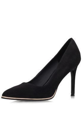 Beauty Court Shoes By Kg Kurt Geiger - secondary colour: gold; predominant colour: black; occasions: evening, work, occasion, creative work; material: suede; heel height: high; heel: stiletto; toe: pointed toe; style: courts; finish: plain; pattern: plain; season: a/w 2014
