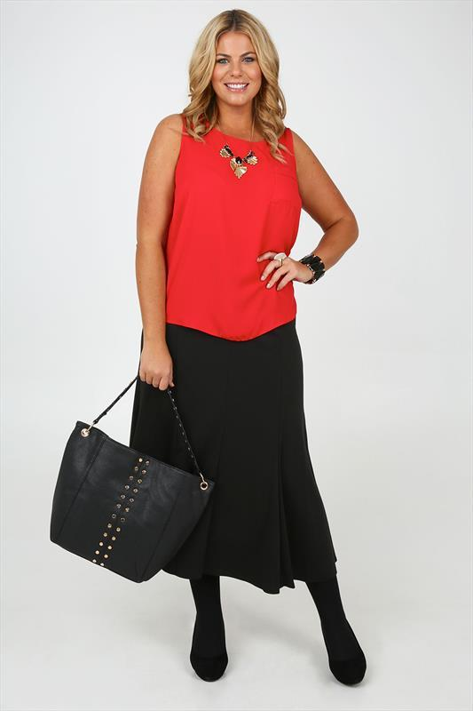 Black Ponte Panelled Maxi Skirt With Front Bow Tie - pattern: plain; length: ankle length; fit: loose/voluminous; waist: mid/regular rise; predominant colour: black; occasions: casual, evening, creative work; style: maxi skirt; fibres: polyester/polyamide - mix; texture group: other - light to midweight; season: a/w 2014