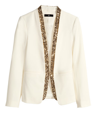 Sequined Jacket - pattern: plain; style: single breasted blazer; collar: round collar/collarless; predominant colour: ivory/cream; secondary colour: ivory/cream; occasions: evening, work, occasion; length: standard; fit: tailored/fitted; fibres: polyester/polyamide - mix; sleeve length: long sleeve; sleeve style: standard; texture group: crepes; collar break: low/open; embellishment: sequins; trends: outerwear chic; season: a/w 2014