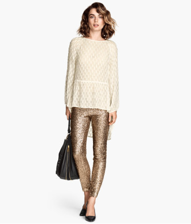Sequined Trousers - pattern: plain; waist: mid/regular rise; predominant colour: gold; occasions: casual, evening, creative work; length: ankle length; fibres: polyester/polyamide - 100%; fit: skinny/tight leg; pattern type: fabric; texture group: other - light to midweight; style: standard; embellishment: sequins; season: a/w 2014; wardrobe: highlight; embellishment location: all over