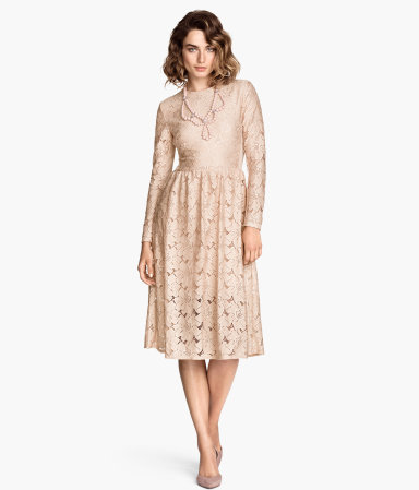 Lace Dress - length: below the knee; predominant colour: nude; occasions: evening; fit: fitted at waist & bust; style: fit & flare; fibres: polyester/polyamide - 100%; neckline: crew; sleeve length: long sleeve; sleeve style: standard; texture group: lace; pattern type: fabric; pattern: patterned/print; season: a/w 2014
