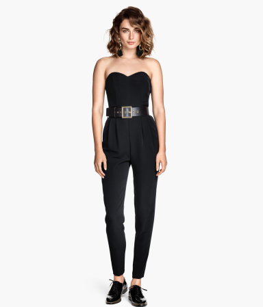 Bandeau Jumpsuit - neckline: strapless (straight/sweetheart); fit: tailored/fitted; pattern: plain; sleeve style: strapless; waist detail: belted waist/tie at waist/drawstring; predominant colour: black; occasions: evening, occasion; length: ankle length; hip detail: front pleats at hip level; sleeve length: sleeveless; texture group: crepes; style: jumpsuit; pattern type: fabric; season: a/w 2014