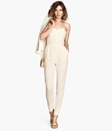 Bandeau Jumpsuit - neckline: strapless (straight/sweetheart); fit: tailored/fitted; pattern: plain; sleeve style: strapless; waist detail: fitted waist; predominant colour: ivory/cream; occasions: evening, occasion; length: ankle length; hip detail: subtle/flattering hip detail; sleeve length: sleeveless; texture group: crepes; style: jumpsuit; pattern type: fabric; season: a/w 2014