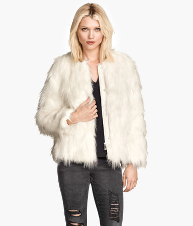 Fake Fur Jacket - pattern: plain; length: standard; collar: round collar/collarless; predominant colour: ivory/cream; occasions: evening, creative work; fit: straight cut (boxy); fibres: acrylic - mix; style: fur coat; sleeve length: long sleeve; sleeve style: standard; texture group: fur; collar break: high; trends: faux fur; season: a/w 2014