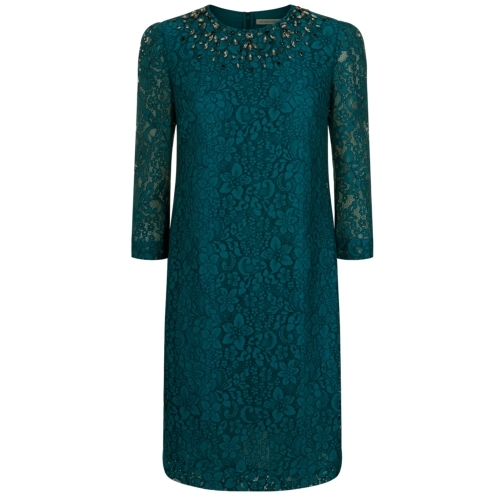 Rhian Dress - style: shift; predominant colour: dark green; occasions: evening, occasion; length: just above the knee; fit: straight cut; neckline: crew; sleeve length: 3/4 length; sleeve style: standard; texture group: lace; pattern type: fabric; pattern: patterned/print; embellishment: jewels/stone; trends: zesty shades; season: a/w 2014