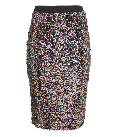 Sequined Skirt - style: pencil; fit: tailored/fitted; waist: high rise; occasions: evening, occasion; length: on the knee; fibres: polyester/polyamide - 100%; waist detail: narrow waistband; predominant colour: multicoloured; pattern type: fabric; pattern: patterned/print; texture group: jersey - stretchy/drapey; embellishment: sequins; season: a/w 2014; multicoloured: multicoloured