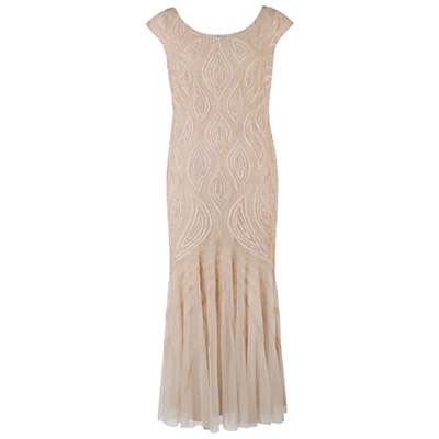 Cornelli Bead Embroidered Dress, Champagne - neckline: round neck; sleeve style: capped; pattern: plain; style: maxi dress; length: ankle length; predominant colour: nude; occasions: evening, occasion; fit: body skimming; fibres: polyester/polyamide - 100%; sleeve length: sleeveless; texture group: sheer fabrics/chiffon/organza etc.; pattern type: fabric; embellishment: beading; season: a/w 2014