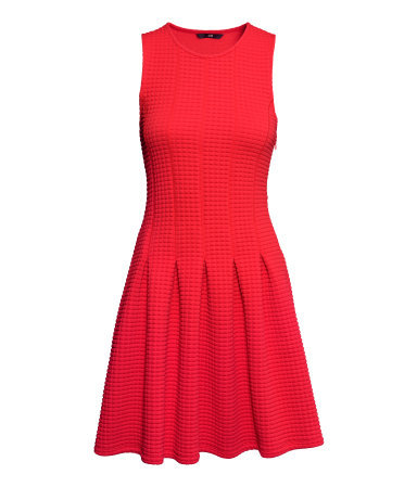 Pleated Dress - pattern: plain; sleeve style: sleeveless; predominant colour: true red; occasions: casual, evening; length: just above the knee; fit: fitted at waist & bust; style: fit & flare; fibres: polyester/polyamide - stretch; neckline: crew; sleeve length: sleeveless; pattern type: knitted - other; texture group: woven light midweight; season: a/w 2014; wardrobe: highlight