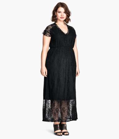 + Long Lace Dress - neckline: low v-neck; fit: fitted at waist; style: maxi dress; length: ankle length; waist detail: elasticated waist; predominant colour: black; occasions: evening, occasion; fibres: polyester/polyamide - stretch; sleeve length: short sleeve; sleeve style: standard; texture group: lace; pattern type: fabric; pattern: patterned/print; embellishment: lace; season: a/w 2014; wardrobe: event