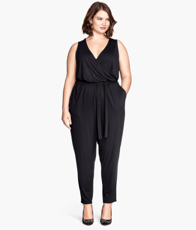 + Sleeveless Jumpsuit - neckline: low v-neck; pattern: plain; sleeve style: sleeveless; waist detail: belted waist/tie at waist/drawstring; predominant colour: black; occasions: evening, occasion; length: ankle length; fit: body skimming; fibres: polyester/polyamide - 100%; sleeve length: sleeveless; style: jumpsuit; pattern type: fabric; texture group: jersey - stretchy/drapey; season: a/w 2014
