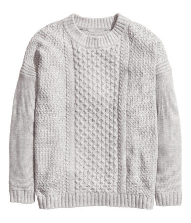 + Pattern Knit Jumper - style: standard; pattern: cable knit; predominant colour: light grey; occasions: casual, creative work; length: standard; fibres: cotton - mix; fit: standard fit; neckline: crew; sleeve length: long sleeve; sleeve style: standard; texture group: knits/crochet; pattern type: knitted - other; pattern size: standard; season: a/w 2014; wardrobe: highlight