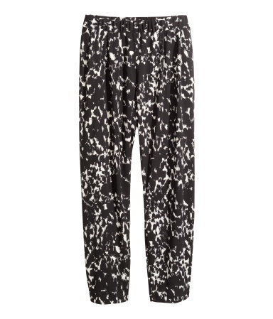 + Patterned Trousers - length: standard; pocket detail: pockets at the sides; waist: mid/regular rise; secondary colour: light grey; predominant colour: black; occasions: casual, creative work; fibres: polyester/polyamide - 100%; fit: straight leg; pattern type: fabric; pattern: patterned/print; texture group: jersey - stretchy/drapey; style: standard; season: a/w 2014; pattern size: standard (bottom); wardrobe: highlight