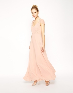 Kate Lace Maxi Dress Nude - neckline: low v-neck; pattern: plain; style: maxi dress; length: ankle length; predominant colour: blush; fit: fitted at waist & bust; fibres: polyester/polyamide - 100%; occasions: occasion; sleeve length: short sleeve; sleeve style: standard; texture group: sheer fabrics/chiffon/organza etc.; pattern type: fabric; season: a/w 2014; wardrobe: event