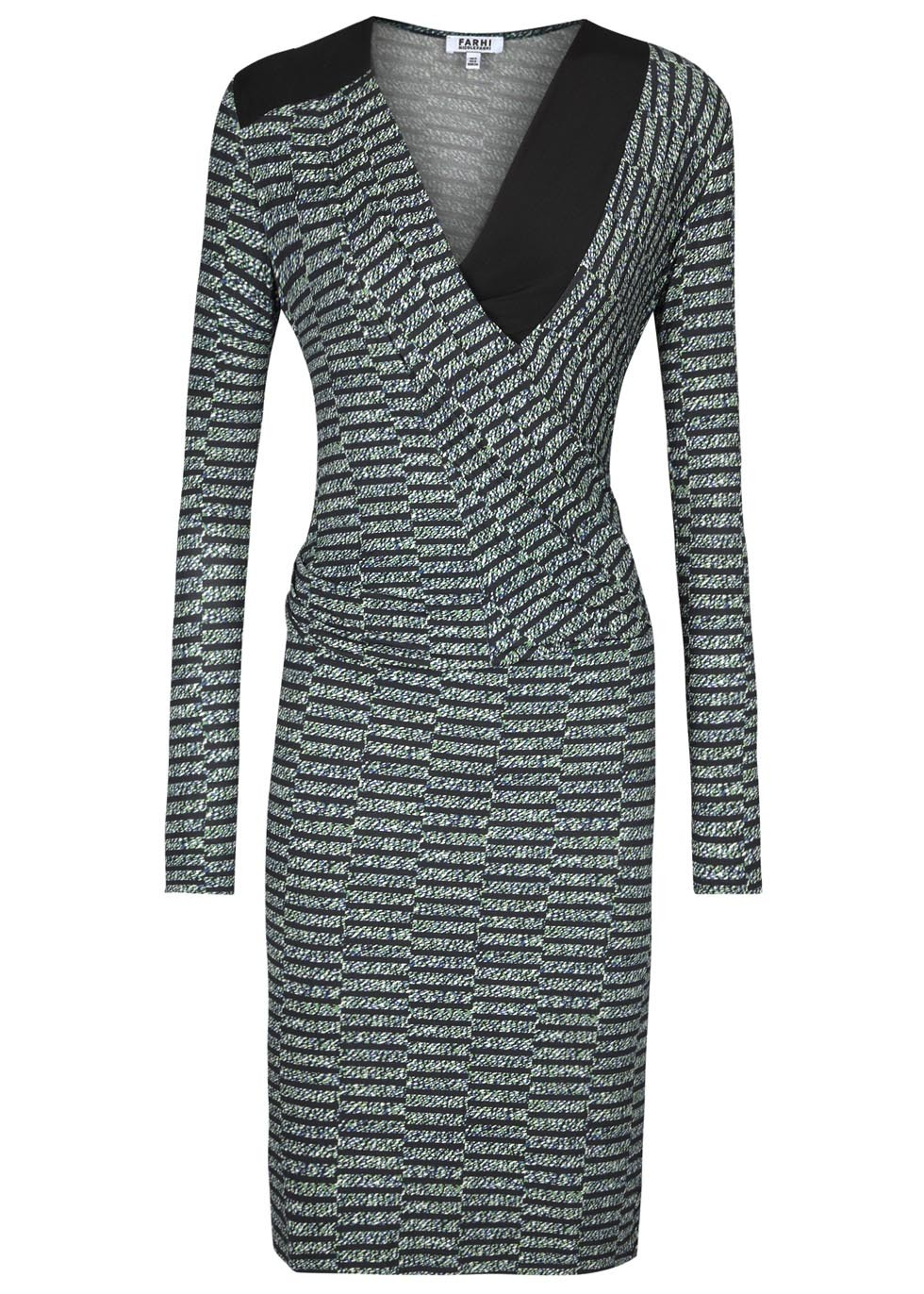 Printed Jersey Dress - style: faux wrap/wrap; length: below the knee; neckline: low v-neck; predominant colour: mid grey; occasions: evening, occasion; fit: body skimming; fibres: viscose/rayon - stretch; sleeve length: long sleeve; sleeve style: standard; pattern type: fabric; pattern size: standard; pattern: patterned/print; texture group: jersey - stretchy/drapey; season: a/w 2014; wardrobe: event