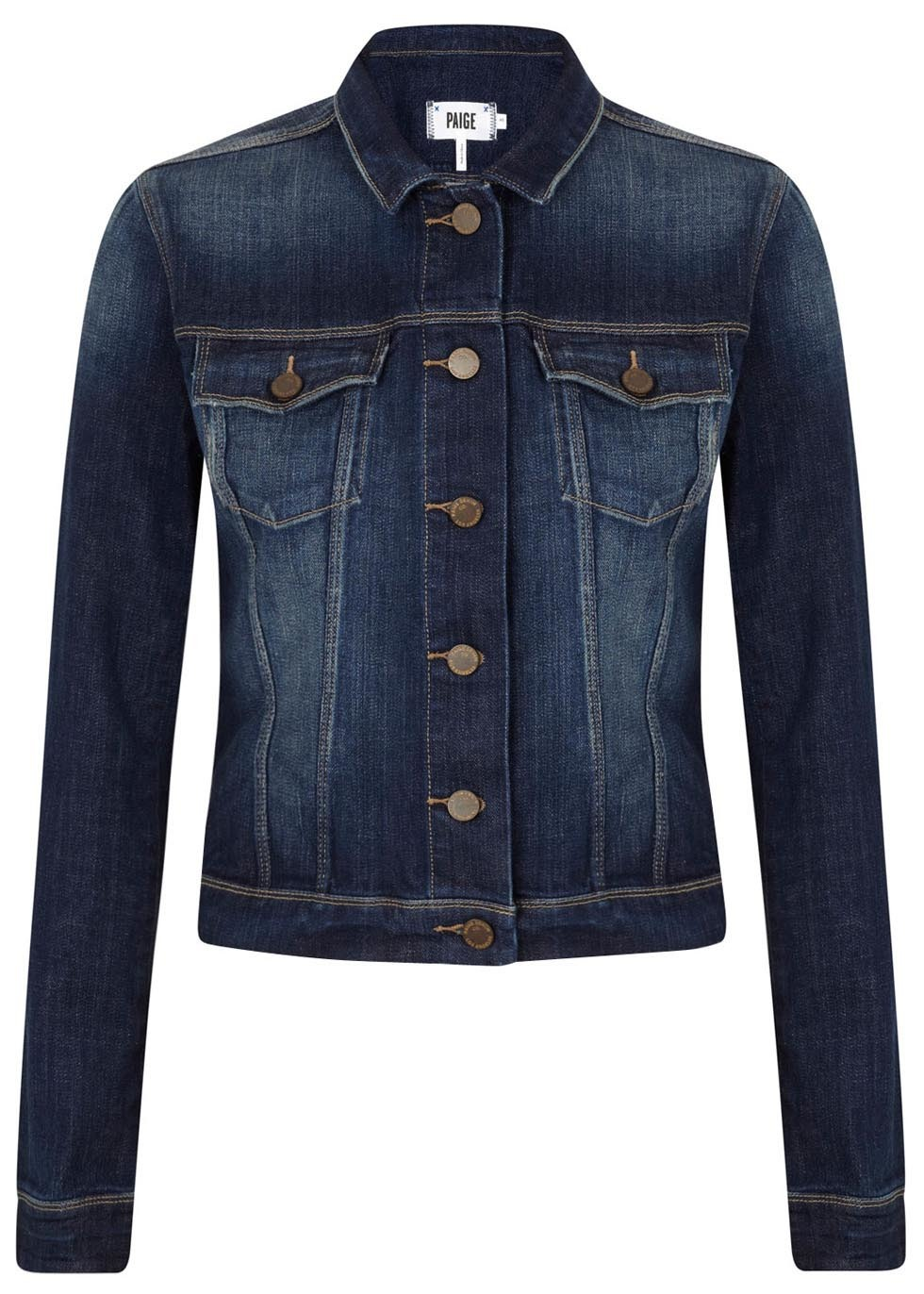 Dark Blue Denim Jacket - pattern: plain; style: denim; fit: slim fit; predominant colour: navy; occasions: casual, creative work; length: standard; fibres: cotton - stretch; collar: shirt collar/peter pan/zip with opening; sleeve length: long sleeve; sleeve style: standard; texture group: denim; collar break: high/illusion of break when open; pattern type: fabric; season: a/w 2014; wardrobe: basic