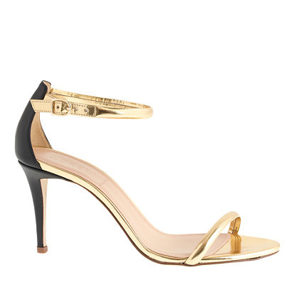 Mixed Leather Strappy High Heel Sandals - predominant colour: gold; secondary colour: black; occasions: evening, occasion; material: leather; heel height: high; ankle detail: ankle strap; heel: stiletto; toe: open toe/peeptoe; style: strappy; finish: metallic; pattern: plain; season: a/w 2014; wardrobe: event