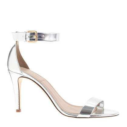Mirror Metallic High Heel Sandals - predominant colour: silver; occasions: evening, occasion; material: leather; heel height: high; ankle detail: ankle strap; heel: stiletto; toe: open toe/peeptoe; style: strappy; finish: metallic; pattern: plain; season: a/w 2014; wardrobe: event